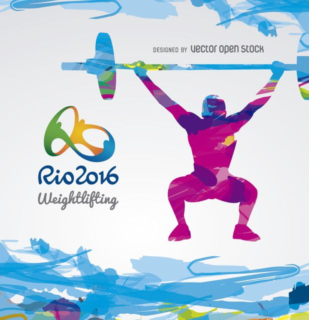 Weightlifting Olympics Rio 2016 design. Silhouette in light-blue and purple over a white background. Includes Rio 2016 official logo. Special for