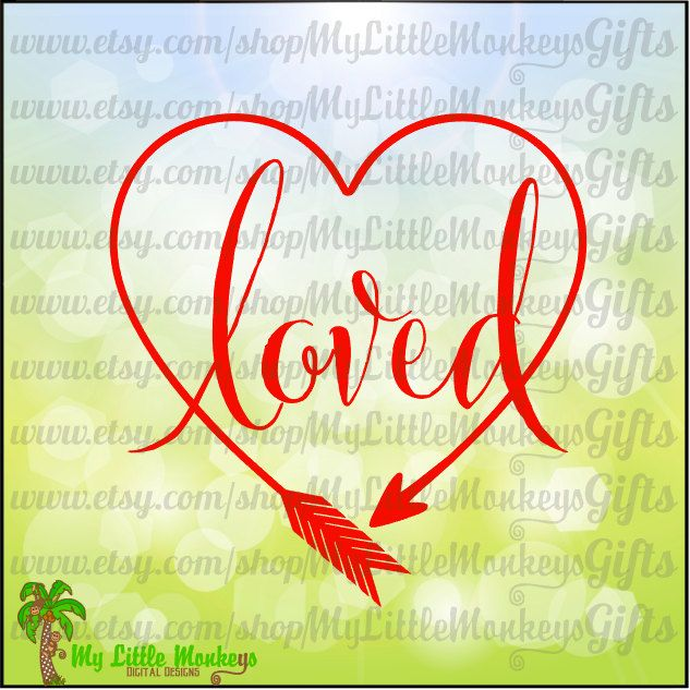 Loved Heart Shaped Arrow Design Valentine's Day Clip Art & Cut File 300 dpi Jpeg Png SVG EPS DXF Instant Download - pinned by pin4etsy.com