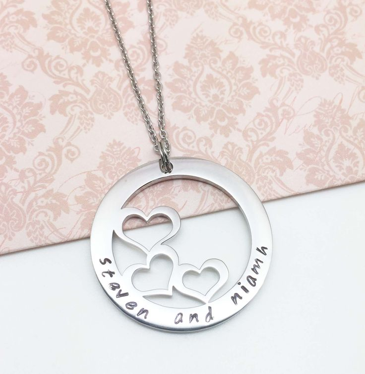 Strength in unity is represented in the three heart necklace. It could represent three children, grandchildren or just special people in your life.