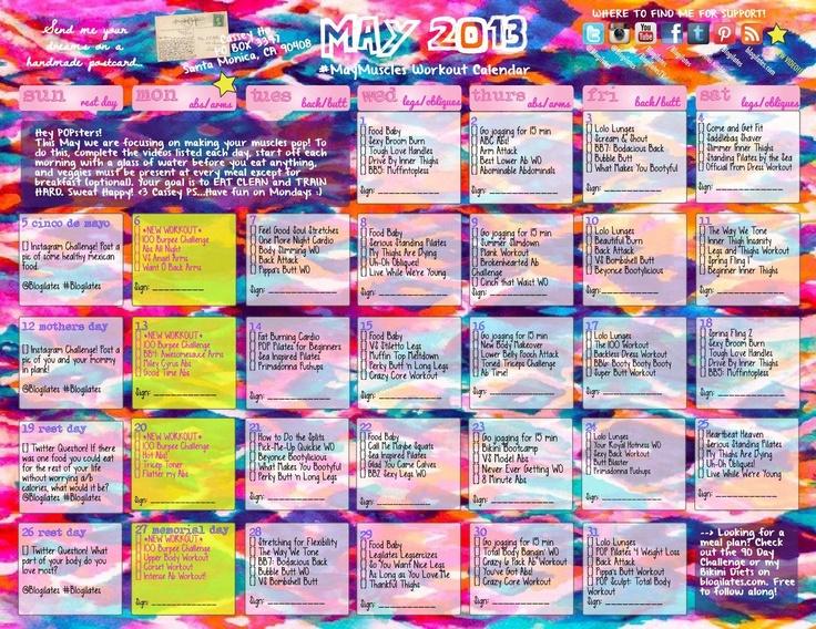 may blogilates calendar // fitness