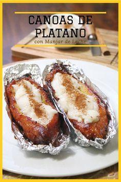 Canoas de Plátano con Manjar de Leche. Este es un delicioso postre centroamericano que se disfruta durante la cuaresma. Muy fácil de preparar y con el que puedes aprovechar esos plátanos que estan demasiado maduros.