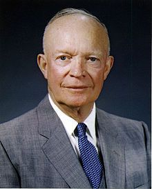 "Dwight David ""Ike"" Eisenhower (October 14, 1890 – March 28, 1969) was the 34th President of the United States from 1953 until 1961. He had previously been a five-star general in the United States Army during World War II, and served as Supreme Commander of the Allied Forces in Europe.  In 1951, he became the first supreme commander of NATO. Born in Denison,TX."