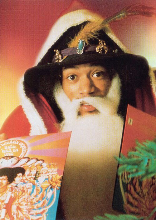 """  Jimi Hendrix as Santa Claus promoting his freshly released LP 'Axis: Bold As Love', Christmas, 1967. """
