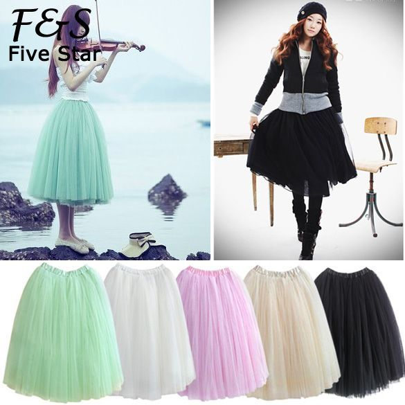 Lace Princess Fairy Style 5 Layers Tulle Bouffant Skirt 5 Colors 2014 New Fashion Long Skirts Drop Shipping b14 5174