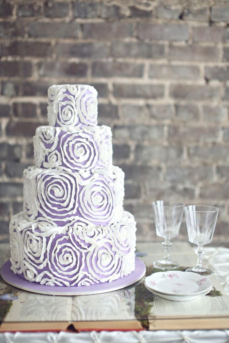 Pleated floral designs cover this lovely lavender cake. | cake designer: Barb's Cakes