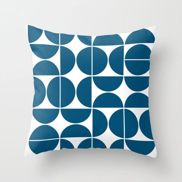 Buy Mid Century Modern Geometric 04 Blue Throw Pillow By Theoldartstudio Worldwide Shipping Available In 2020 Blue Throw Pillows Blue Pillows Decorative Throw Pillows