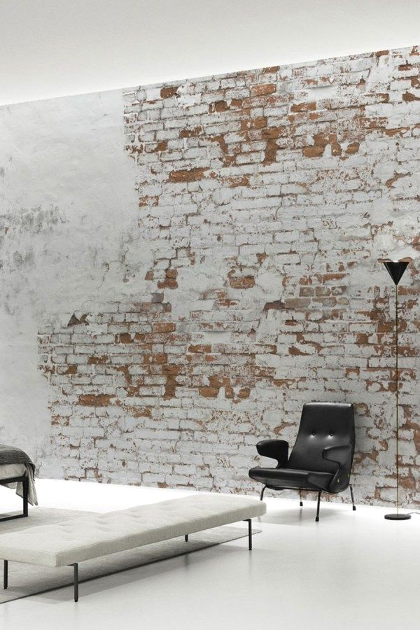 Stunning Diy Industrial Decorating Designs That You Can Create For Your Urban Getaway Industrial Brick Wall Wallpaper Industrial Style Decor White Brick Walls