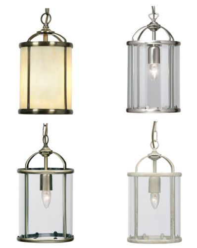 Victorian-Style-One-Bulb-Ceiling-Lantern-Light-Pendant-Brass-Chrome-Cream-NEW