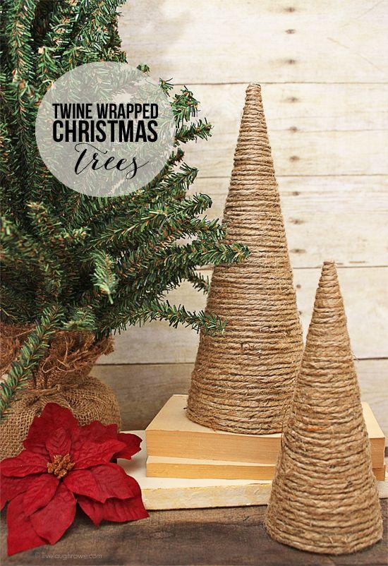 DIY Twine Wrapped Christmas Trees with livelaughrowe.com #diy #christmastrees