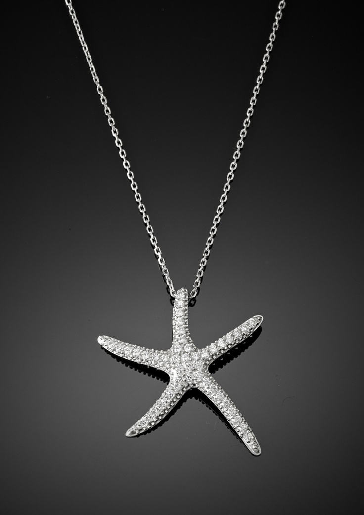 pave starfish necklace