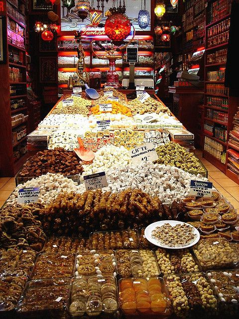 Turkish Delights from the Egyptian Spices Bazaar in Istanbul, Turkey.