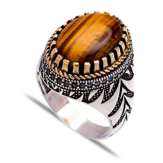 Authentic Cat Eye Men Ring Islamic Ring Turkish Ottoman by ETHEIA