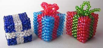 3D Christmas Box Ornament Beading Pattern byRuth Kiel at Sova-Enterprises.com