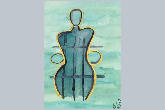 Abstract Figure Painting - Watercolor Painting - Small Painting - Body Positive Art - Office Decor - Desk Art - Poetry Art By Sierra Barnes #art #artist #painting #abstractfigure  #figure painting  #watercolorpaintings  #watercolorart #smallpainting  #minipainting #paintingonpaper  #officedecor  #homedecor  #deskart  #bodypositiveart  #5xpainting  #bluepainting  #poetryart
