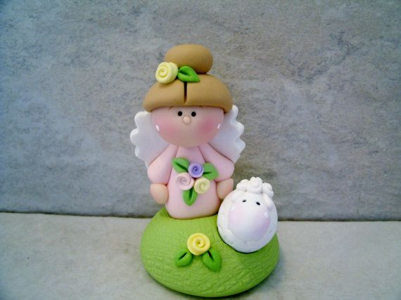 Angel Lamb Easter Figurine by countrycupboardclay on Etsy