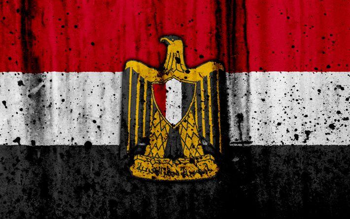 Download wallpapers Egyptian flag, 4k, grunge, Asia, flag of Egypt, national symbols, Egypt, Egyptian national emblem, national flag, coat of arms of Egypt