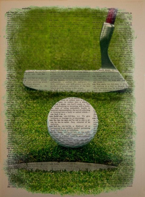 Golf ball and putter, printed on vintage dictionary paper. To ensure that the colors on the print that you receive are rich and accurate, I carefully proof each print with multiple runs through the printer, making adjustments as needed--a step necessitated by the aged tones of the old dictionary paper, which can sometimes throw off the printed colors. To avoid abrupt borders, the colors near the edges of the image are delicately faded. I also use a high end printer with premium inks…