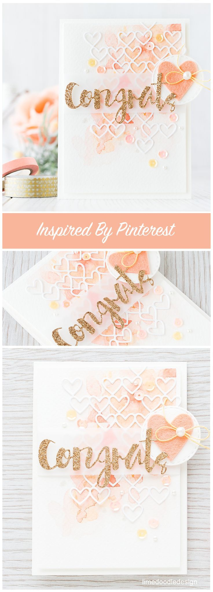 Inspired by color - this card was inspired by a peaches/cream, watercolor with a pop of gold I saw on Pinterest. Find out more by clicking the following link: http://limedoodledesign.com/2015/12/inspired-by-color/ card congrats watercolor watercolour heart