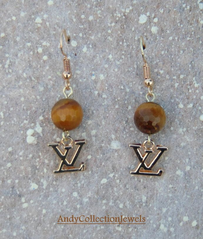 Tiger eye dangle earrings, Replica chanel dangle earrings, Replica louis vuitton dangle earrings, Cheap gift idea for her, Mother's day gift by AndyCollectionJewels, $11.90 EUR