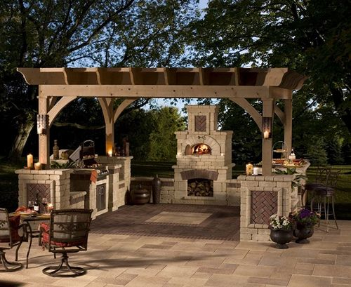 Outdoor Tuscan Kitchen: Tuscan Kitchens, Pergolas, Outdoor Patio, Outdoor Living Spaces, Outdoor Kitchens, Brick Ovens, Backyard, Outdoor Spaces, Outdoor Pizza Ovens