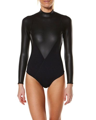 WOMENS SPRING SUITS - TALLOW ILUKA LS SURFSUIT - BLACK