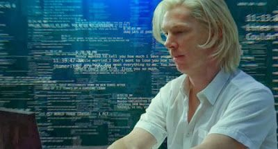 #Wikileaks @5thEstateMovie -The story gets easier to follow when the movie goes back two years, when founder Julian Assange (who reminds me of the Albino Monk in The Da Vinci Code) played by Benedict Cumberbatch is trying to get a slot at a Geekfest/Techno Expo and Daniel Domscheit-Berg (Daniel Brühl) puts in a good word for him... Tinsel & Tine (Reel & Dine)