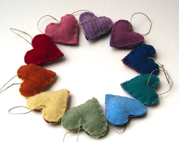 rainbow felt heart ornaments/ upcycled wool love decorations  - so cute!