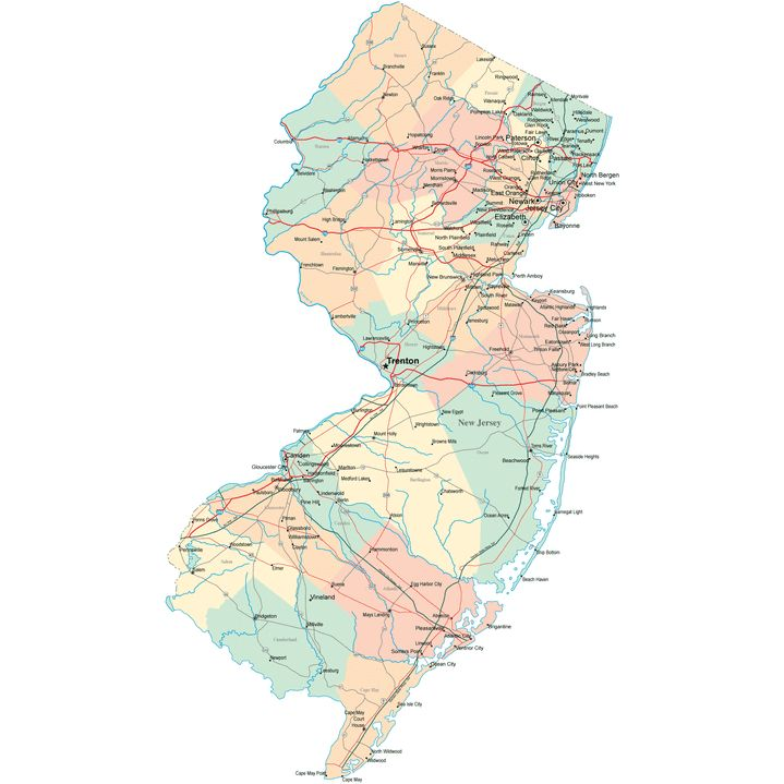 New Jersey Road Map NJ Road