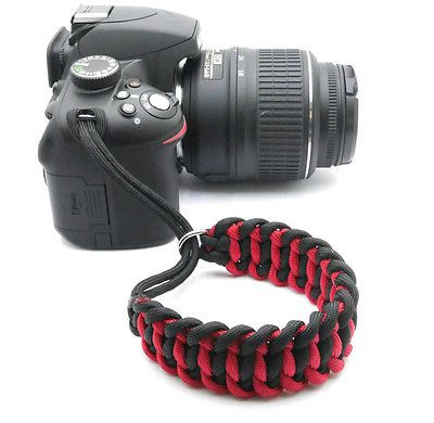 "The #""cordy cat duo"" paracord camera #wrist #strap - black & red - handmade…                                                                                                                                                                                 Plus"