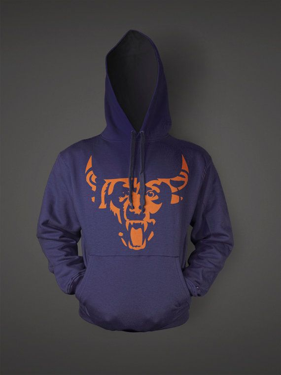 Chicago Bear Bull Awesome Football Sports Hoodie Navy Orange on Etsy, $29.95