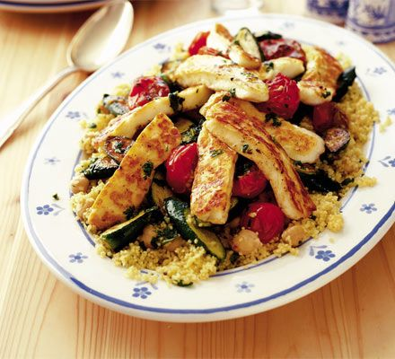 Couscous halloumi salad. Super fast to prepare, and easy to modify with any veggies on hand (onion, red pepper, broccoli), or substitute feta for halloumi.  Short on time, no need to grill the cheese, just cube it and toss into the warm couscous to get a little melty while you prep the veg. Tasty on it's own - I've never even tried it with the dressing.