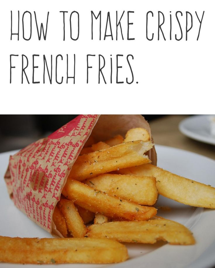 How to make crispy french fries. | Let raw potatoes stand in cold water for at least half an hour before frying to improve the crispness of french-dried potatoes whether you're frying them or oven baking them. | More cooking tips and hacks https://happyforks.com/hack/292