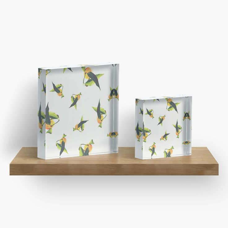 'Tangerine Pattern' Acrylic Blocks by ARTbyJWP from Redbubble #walldeco #acrylicblocks #homedecor #floral #artbyjwp -- Close-up of a beautiful tangerine with its large leaves. • Also buy this artwork on wall prints, apparel, stickers, and more.
