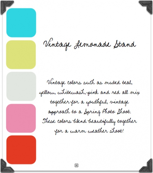Bright vintage color palette