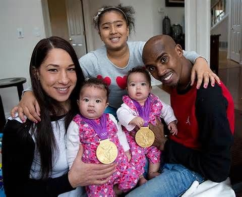Somalian- born British Olympic Champion Mo Farah is Celebrity Dad of the year. Tania gave birth to twin daughters, Aisha and Amani just weeks after he won double Olympic gold. Mo has a twin brother Hassan.
