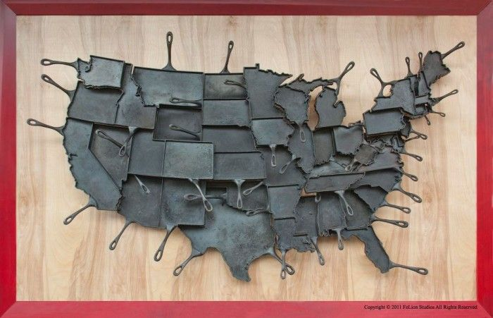 Made in America Skillets.: Cast Irons Pan, Fun Recipe, Lower 48, Cast Irons Grill, Texas, 48 States, Pancakes, U.S. States, United States