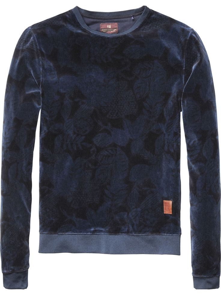 Velour Crew Neck Sweater | sweat | Men's Clothing at Scotch & Soda