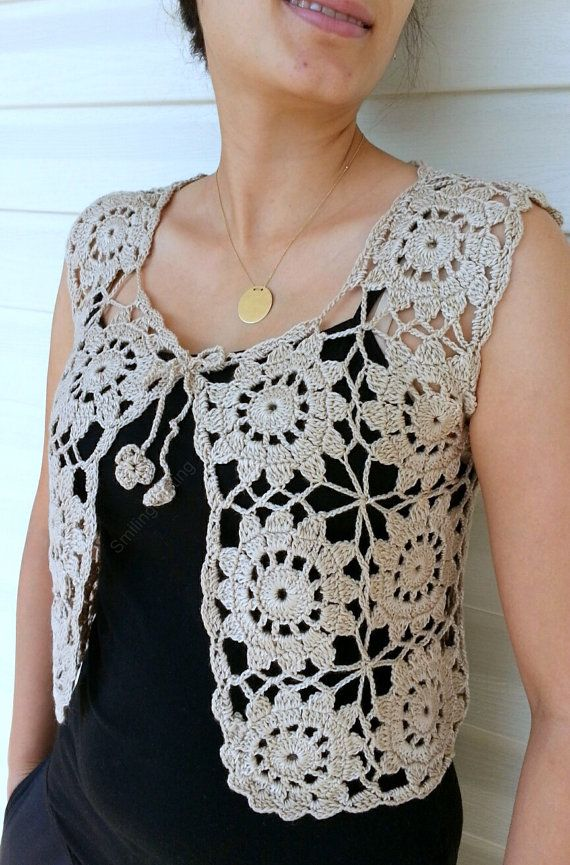 Granny Square Beige Vest Crochet Sweater Lace by SmilingKnitting