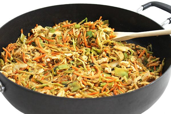(NEW RECIPE) No noodles or rice needed in this wonderfully tasty stir-fry! Instead, it's loaded with good-for-you broccoli slaw, cabbage, plus chicken and other veggies - 8 points