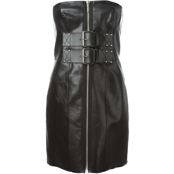 Alexander Wang strapless corset dress ($2,795) ❤ liked on Polyvore featuring dresses, black, leather dress, short cocktail dresses, short strapless dresses, corset dress i zip front dress