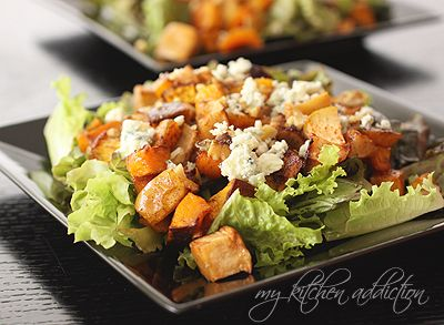 Maple roasted squash and apple salad with gorgonzola