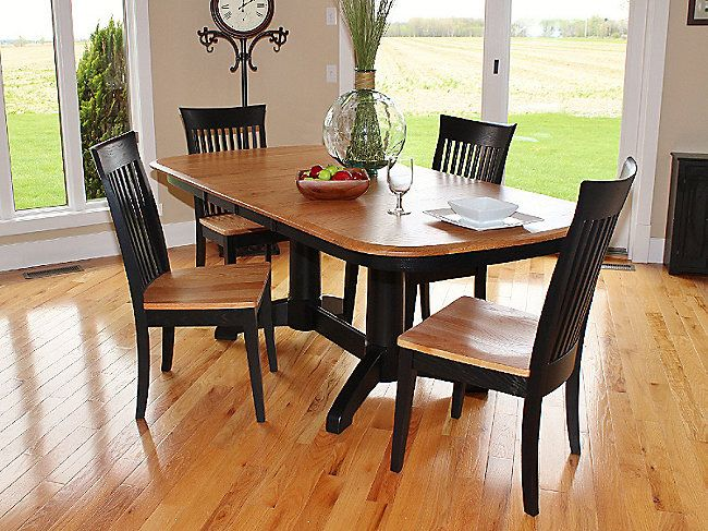 Split Rock Amish Craftsmen Oak Dining Table And 4 Side Chairs