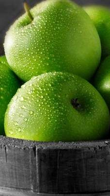 Wet Green Apples