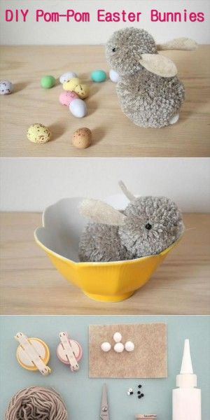 Pasen Craft Ideeën: DIY Pom-Pom Paashazen.