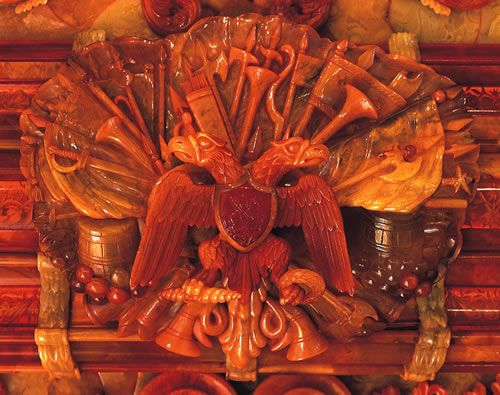 Double-Headed Eagle (amber frame detail) from the 'Amber Room'. Great site with history & photos on the Amber Room. via eng.tsar.ru