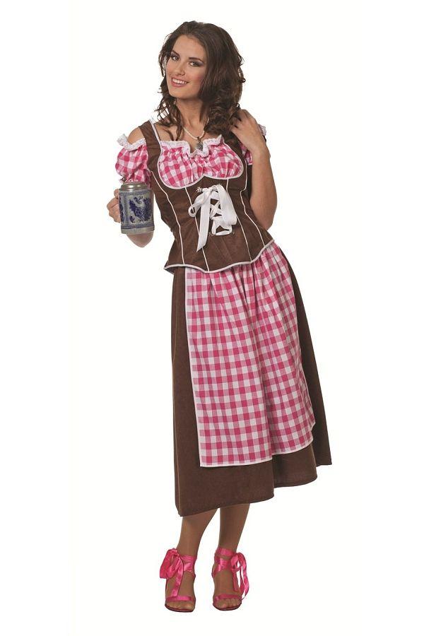 Traditionelles Trachtendirndl für Ihren Oktoberfestbesuch!   Mit diesem Damenkleid steht der nächsten Hüttengaudi nichts mehr im Weg!   Das Mieder ist dunkelbraun und an den Kanten weiß abgesetzt. Der Ausschnitt ist in einem rosa/weiß kariert und mit einer weißen Borte versehen. Dies setzt Ihr Dekolleté hervorragend in Szene und lässt Männerherzen höher schlagen. Das Trachtenoberteil wird auf der Rückseite mit einem Reißverschluss verschlossen und kann auf der Rückseite durch eine weiße…
