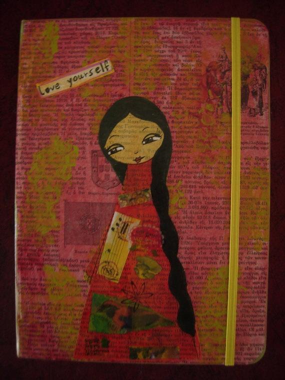 Art Journaling Kita handmade mixed media journal and by eltsamp, $68.00
