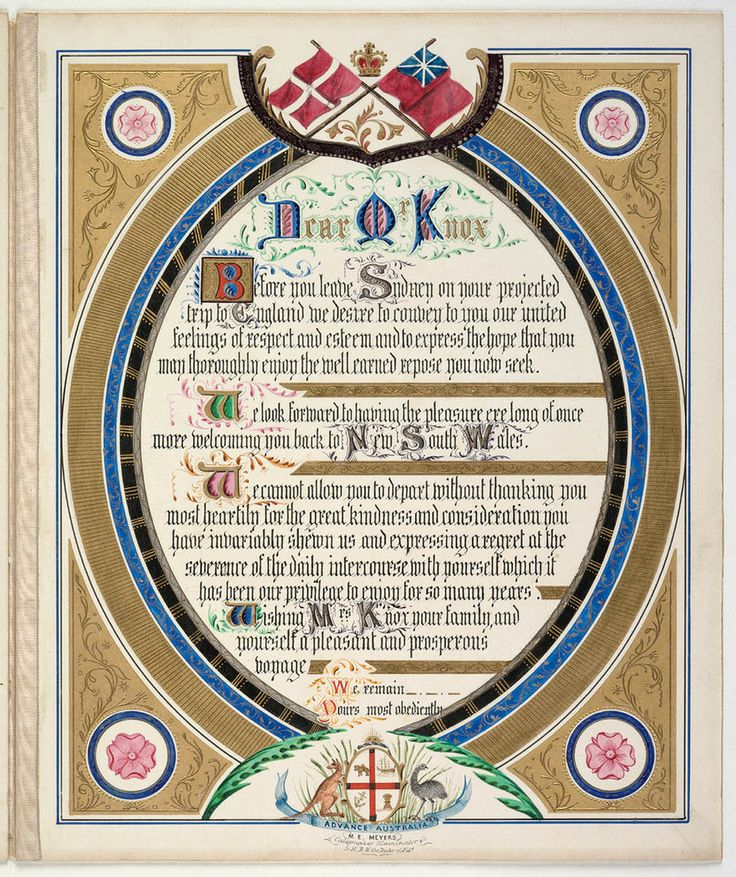 An Illuminated Address given  to Edward Knox on his departure for England in 1877. This collection forms part of the Sesquicentenary of Responsible Government in NSW 1856-2006 Project. From the Mitchell Library, State Library of New South Wales : http://www.acmssearch.sl.nsw.gov.au/search/itemDetailPaged.cgi?itemID=431370