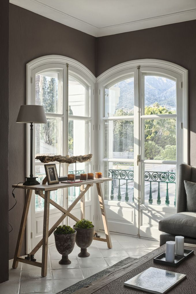beautiful arched windows   wall color