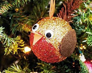 Robin bauble - made of styrofoam and glitter | Creative Ideas - Kids ...